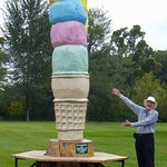 12 foot (tree carved) Ice cream cone is a delight to the eyes