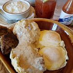 Biscuits & Gravy wiht over easys and grits.