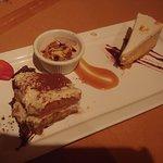 Tiramisu, Pumpkin cheesecake (really good) and forget what's in the ramekin.