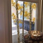 New seasonal glass panels in dining room