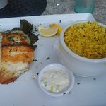 Grilled Asian Sea Bass served at Paradise Cove Beach Cafe in Malibu, CA