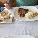 Ribeye with mashed potatoes and coleslaw