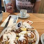 mini pancakes and espresso