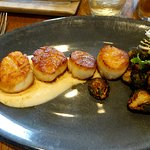 Scallops - excellent, cauliflower puree and crisp Brussels Sprouts