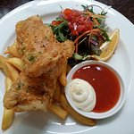 Fish and chips with salad - very good