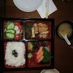 Lunchbox with sashimi, Chicken Teriyaki, salad and rice and of course misu soup at a modest pric