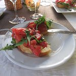 Shared bruschetta starter at Ciparis