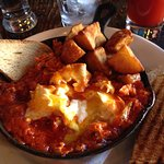 Baked Eggs with Italian Sausage, Marinara and Basil