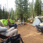 """Taking a """"load off"""" after the first days climb to camp."""