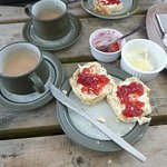 Just loved this serve of tea and scones with cream and jam