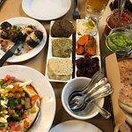 Sampler Dish, Hummus Sabich, Beef Skewers