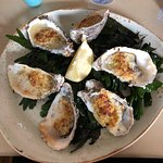Oysters with Gruyere cheese & leeks
