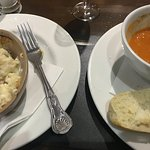Sweet potato and roasted red pepper soup and side of cauliflower cheese