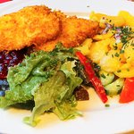 Tasty veal Wiener Schnitzel with a side of froed potatoes, salad and cranberry sauce