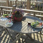 Meal cooked in kitchenette and enjoy on our deck.