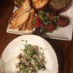 Mezze plate and Woodland Mushrooms