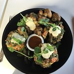 Vegan fritters with side of mushrooms