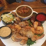Shrimp and oysters, with a bowl of gumbo subbed for the French fries!