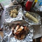 Jerk Chicken, Sweet Potatoes, Breadfruit