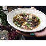 asian mushroom broth with goose wontons