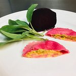 Beetroot Ravioli filled with Butternut squash,sage and mascarpone