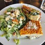 Roasted veggie panini with Caesar salad