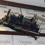 An old toy train on display