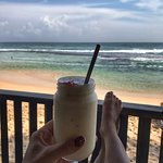 Pineapple lassi and sea views!