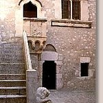Courtyard and staircase in the Corvajo Palace, Taormina, Messina, Sicily