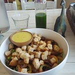 Caesar Supreme Salad and Veggie Pineapple Cold Pressed Juice, just perfect for a healthy diet