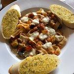 Mediterranean Tagliatelle with Garlic Bread