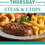 Join us every Thursday to enjoy Steak & Chips from just £7! T's and C's apply.