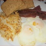 All American Breakfast with Over Easy, Bacon and Hash Browns