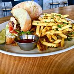 Blackened Chicken Sandwich & Garlic fries....fabulous!