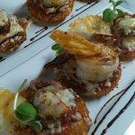 Jumbo shrimp on crisp parmesan