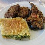 Byrek, qofte, and stuffed eggplants at Trifilia