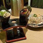 Handroll and garlic fried rice