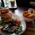 Halloumi burger with salad, onion rings and lightly battered chips - very nice