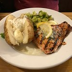 Salmon, baked potatoe & Brussel Sprouts