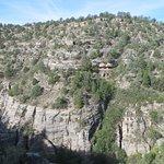 View of canyon wall + dwellings across from the Visitors Center.