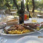 Meat platter for two and wine from Brac Island