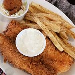 Grouper, fries, cole slaw and hush puppy