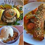 Scallops, salmon and apple crisp for dessert