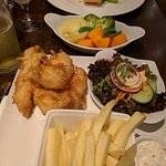 Fish & Chips and Salmon in White Wine Sauce