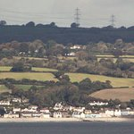 Amroth from Caldey Island: the Amroth Arms is the blue building in the centre.