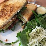 Fried green tomato sammy with greens