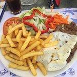 Steak w/ chips, egg & salad