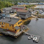 Drone shot of the Sea Dog. Good food and a fun place.