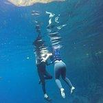 Mergulho fotografado de dentro d'água.