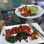 Crispy eggplant appetizer and turkey-pesto wrap at Steel Magnolias